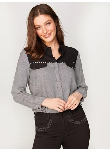 Faik Sönmez  Taş İşlemeli Gömlek 60426 Siyah